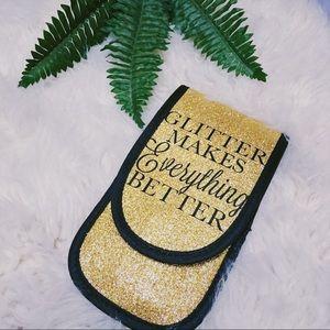 💄 Gold Glitter Make-up Brushes & case